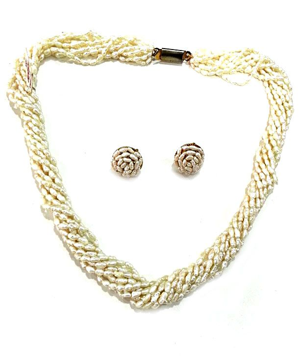 72eb9b097d4 Shri Kapi Pearls Rice Pearls Necklace Set - Buy Shri Kapi Pearls Rice Pearls  Necklace Set Online at Best Prices in India on Snapdeal