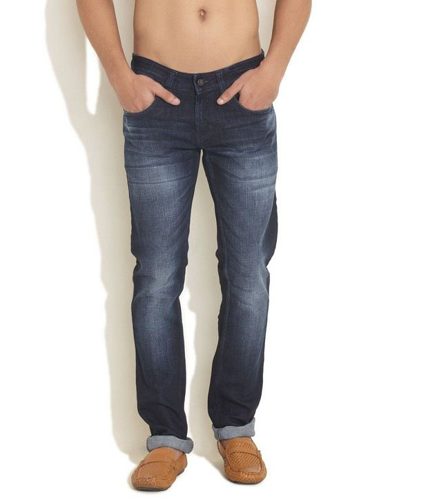 Yellow Jeans Dark Blue Dark Washed Narrow Leg Denims