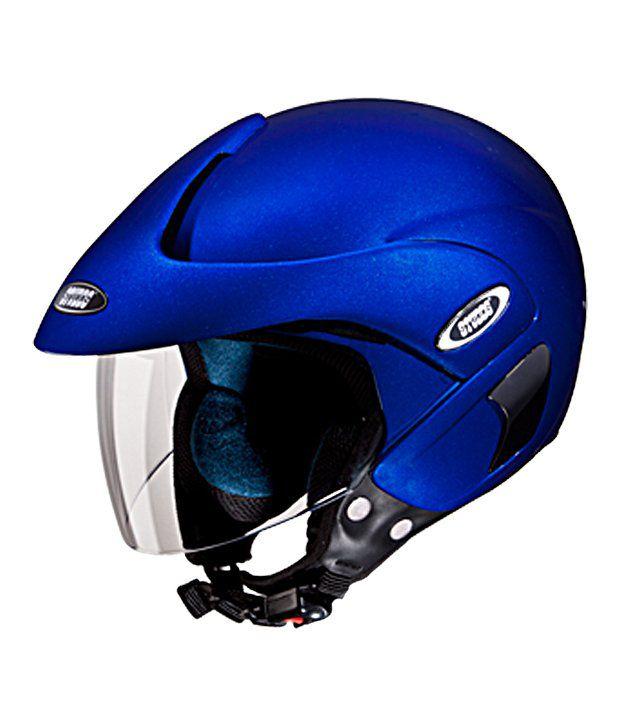studds open face helmet marshall flame blue large 58 cms