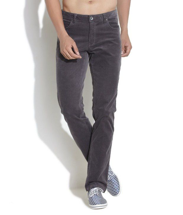 United Colors of Benetton Light Grey Slim Fit Corduroy Trousers ...