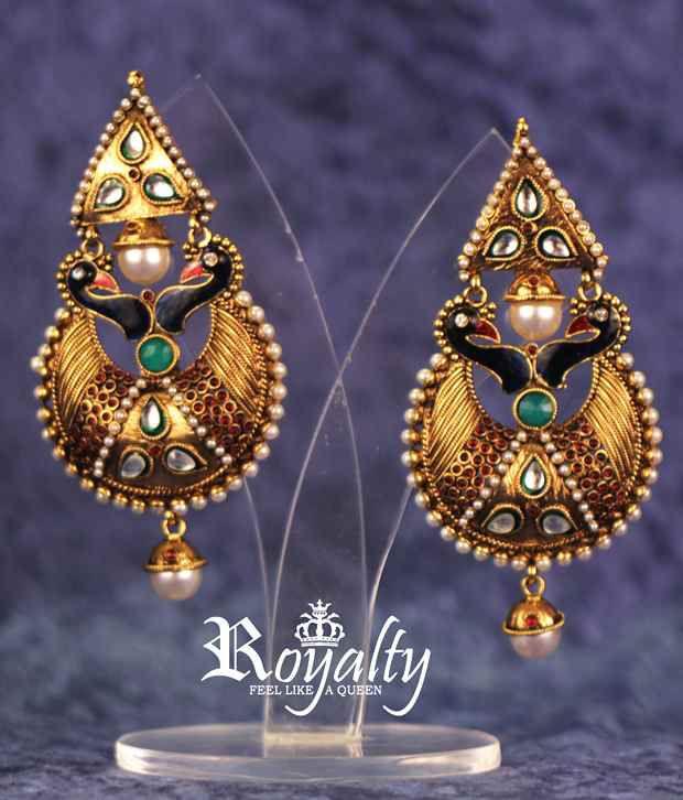 Royalty Peacock Inspired Beautiful Pair of Enamelled Handmade Earrings