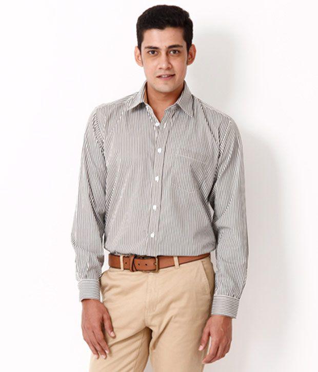 Jogur Green-White Striped  Shirt