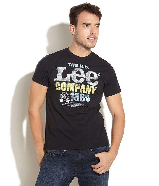 Lee Cooper Originals Black Signature Distressed  Print Tee