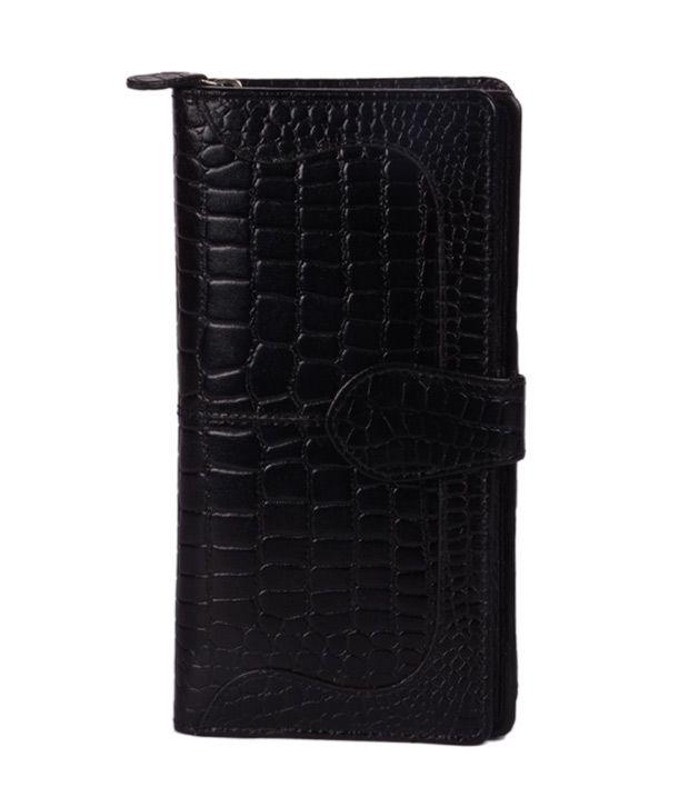 Hidekraft Women's Black Leather Wallet