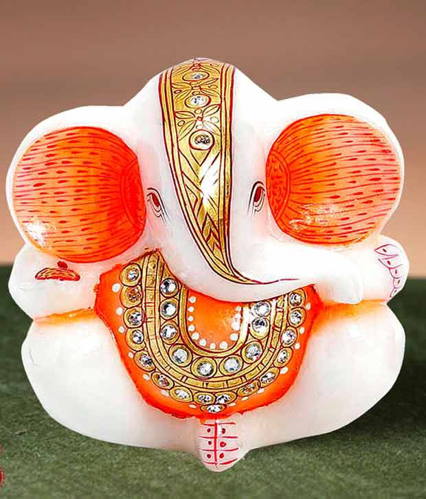 Aapno Rajasthan Pure White Italian Marble Ganapati with Real Gold and Kundan Work