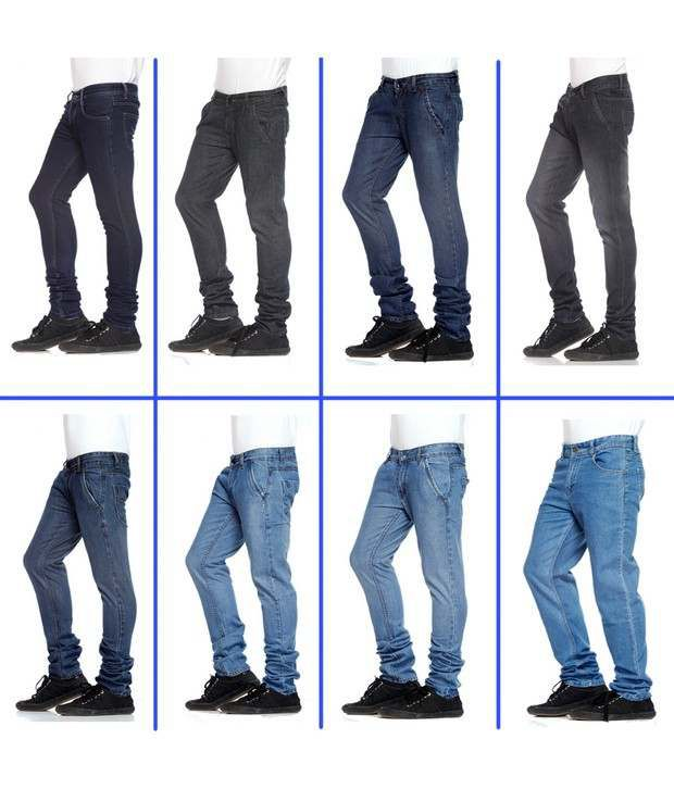 NX Black and Blue Shades Basic Pack of 8 Jeans
