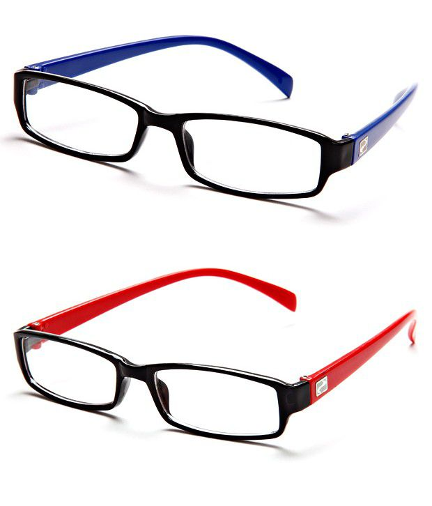 lens frames online  Mall4all rsb1-rsr7 Black-Red Frame Rectangle Unisex Eyeglasses ...