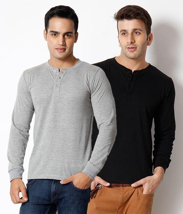 Unisopent Pack Of Grey-Black Full   Sleeve T Shirt