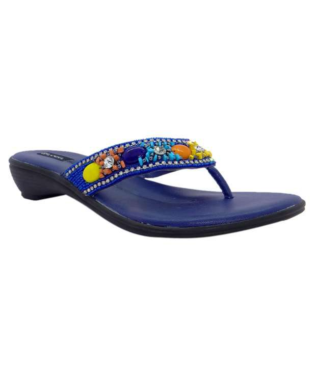 L'Ozel Toe Strap Elegant Design Blue Slippers