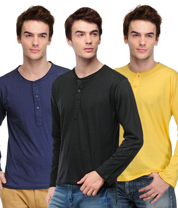 TSX Black-Navy-Yellow Pack of 3 Henley T Shirts