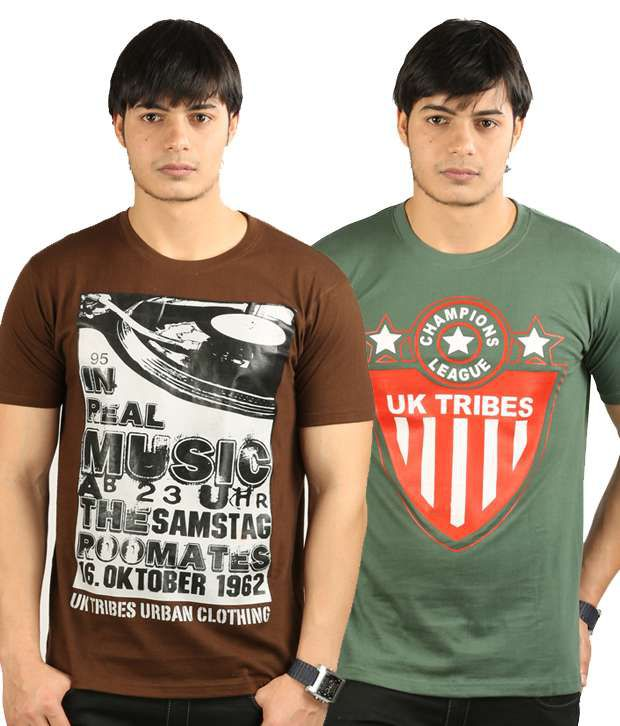 UK Tribes Brown-Green Pack of 2 T Shirts