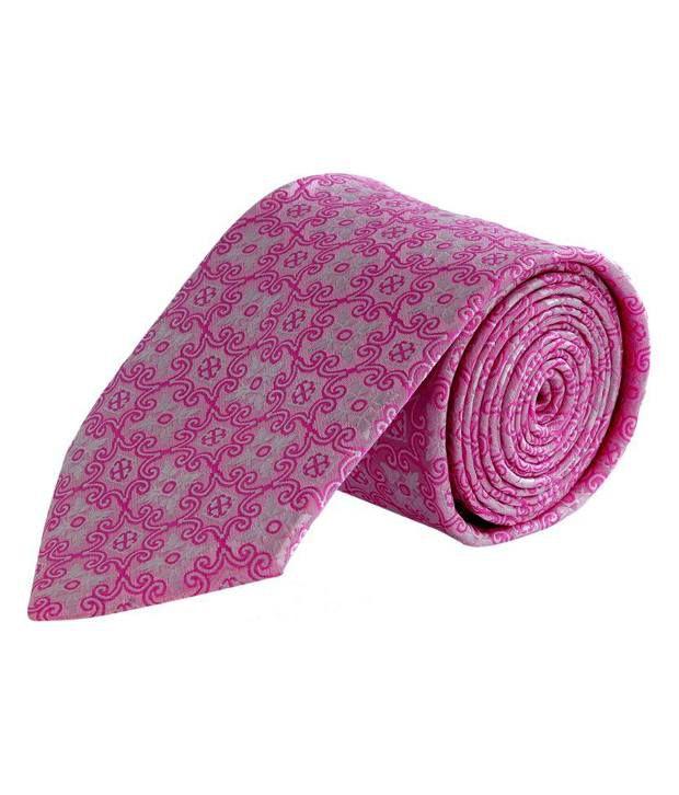 Tiekart Classy Pink & Grey Geometric Design Tie
