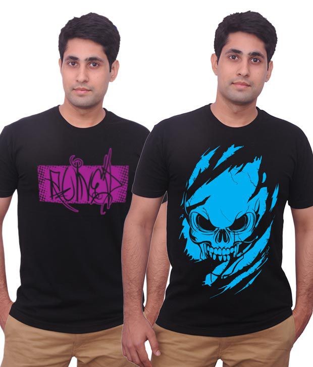 Inkovy Pack Of 2 Exquisite Black Printed Men's T Shirts
