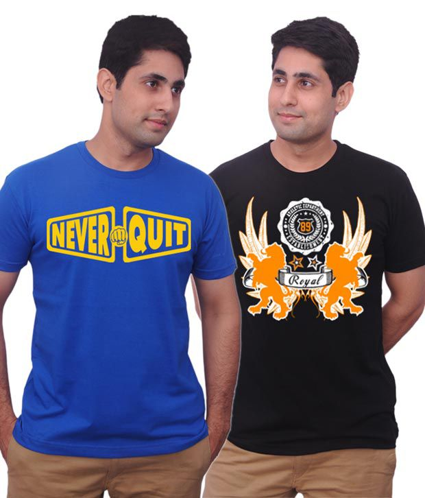 Inkovy Black-Blue Pack Of 2 Cotton T Shirts