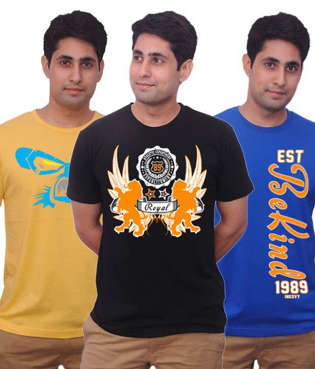Inkovy Stylish Pack Of 3 Smart Cotton T Shirts