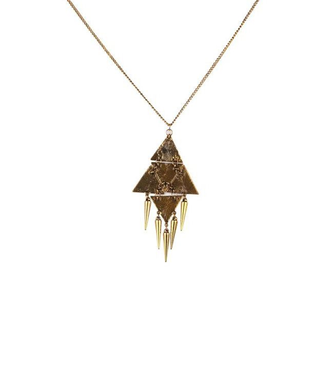 Addons Golden Necklace With Triangular Shaped Design