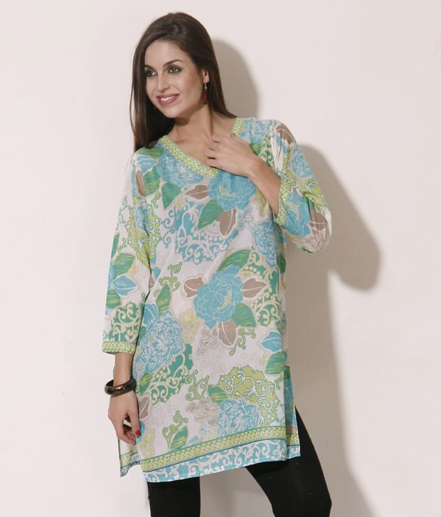 SSV White-Blue Printed Long Cotton kurti