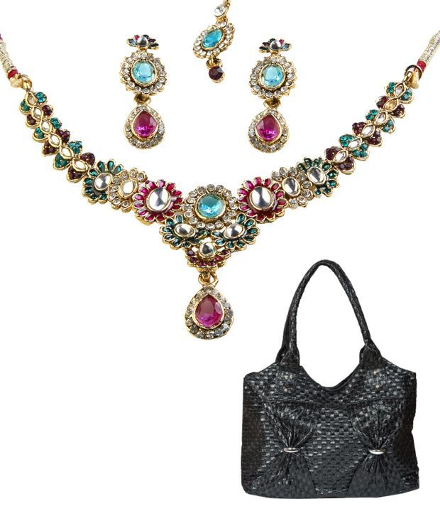 Kriaa Floral Necklace Set With Maang Tika & Handbag Combo