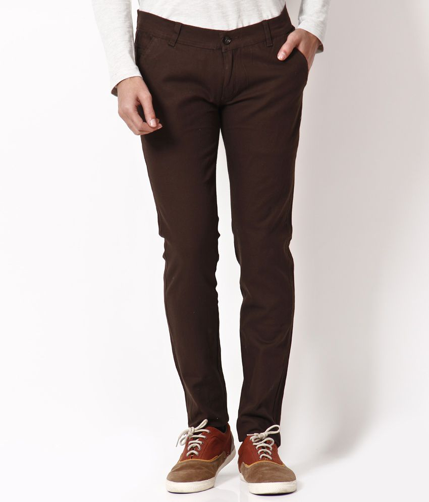 Apple Bottom Dark Coffee Brown Slim Fit Chinos