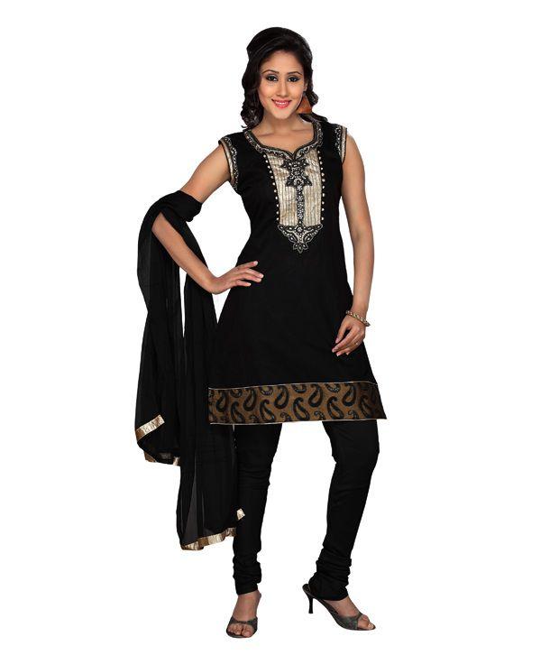Idha Readymade Black Cotton Churidar Suit