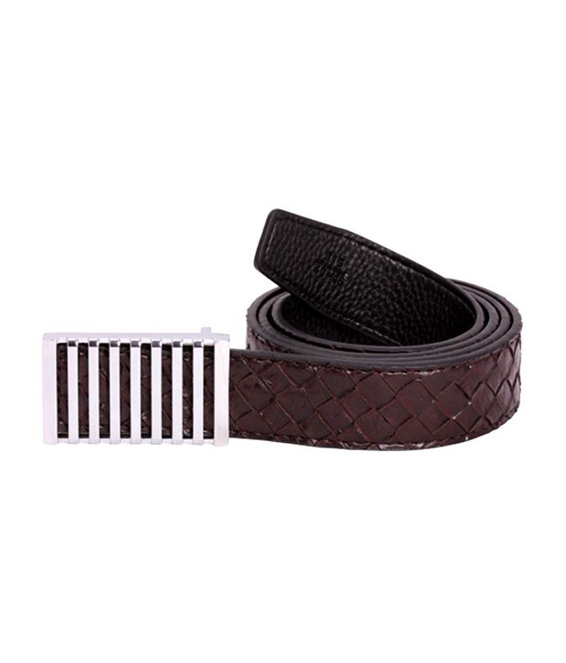 Zovon Criss-Cross Textured Dark Brown Belt