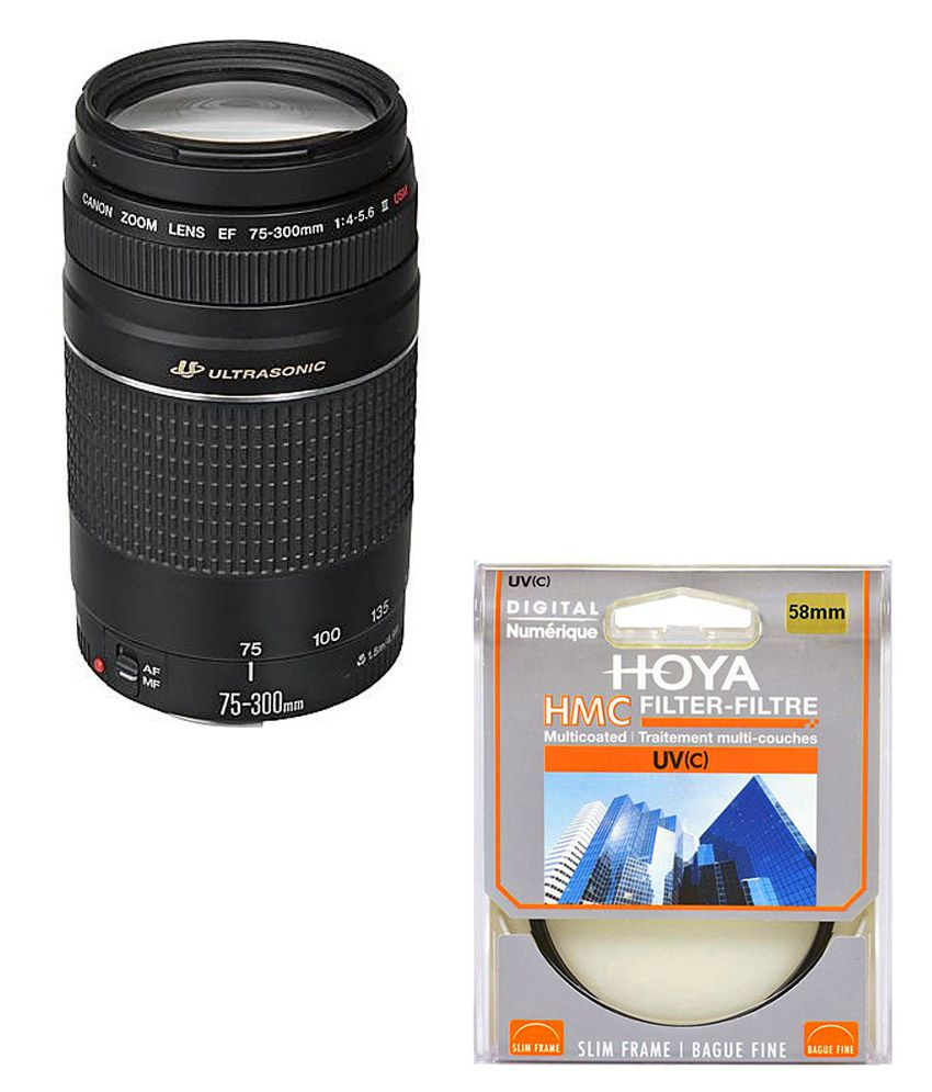 Canon EF 75-300mm f/4-5.6 III USM Lens + Hoya 58mm UV Lens Filter Combo