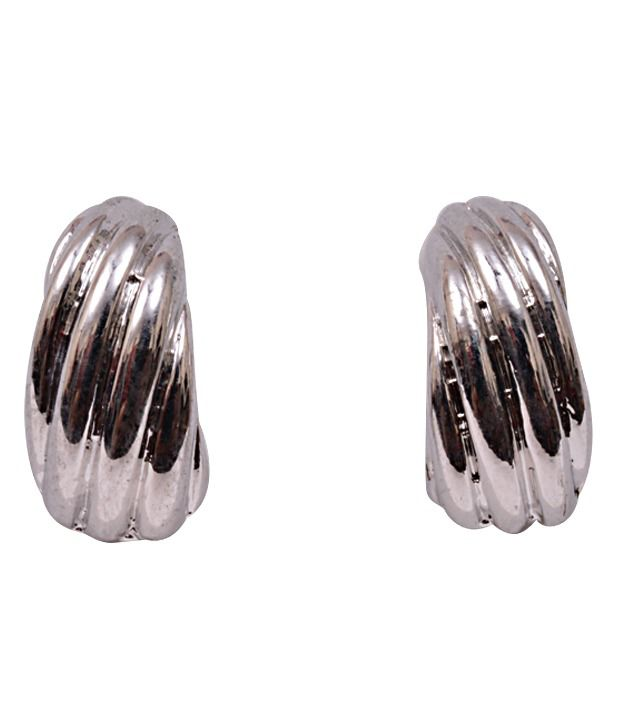 Trendy Baubles Twisted Semi Hoop Earrings
