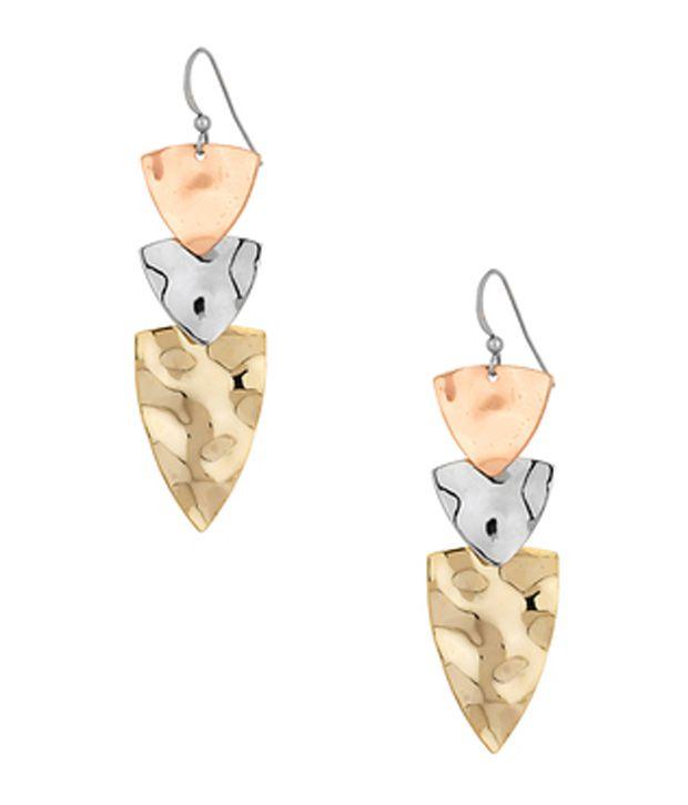 Voylla Dangler Earrings with Three Coloured Triangular drop