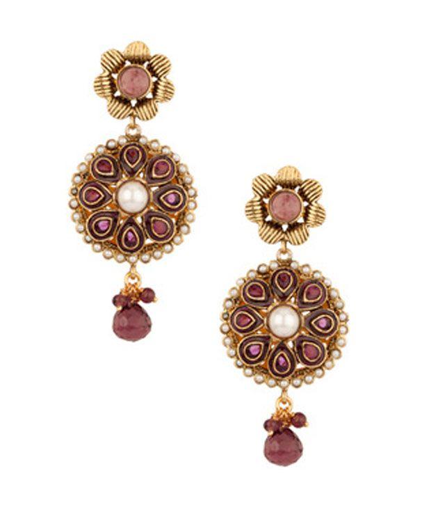 Voylla Glamorous Floral Pearl;Stone Encrusted Earrings