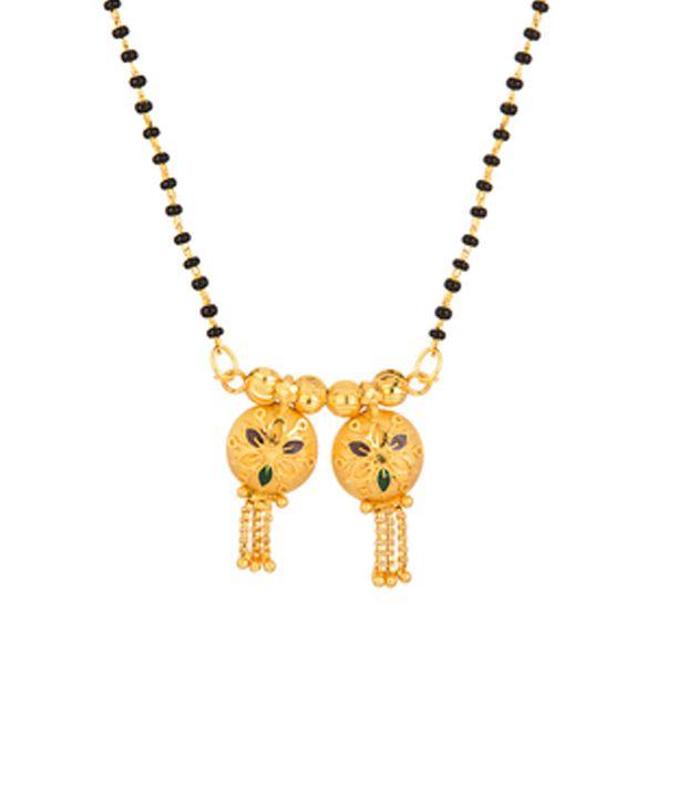 Voylla Wati Mangalsutra with Two Round Watis; Enamel; Gold Tone