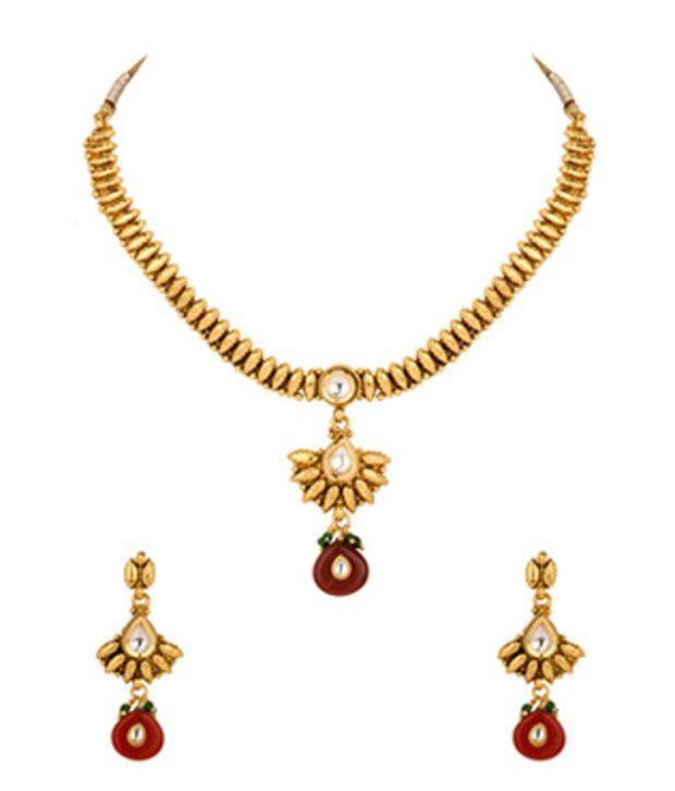 Voylla Gold Plated Traditional Style Necklace Set With Pretty Maroon Droplets