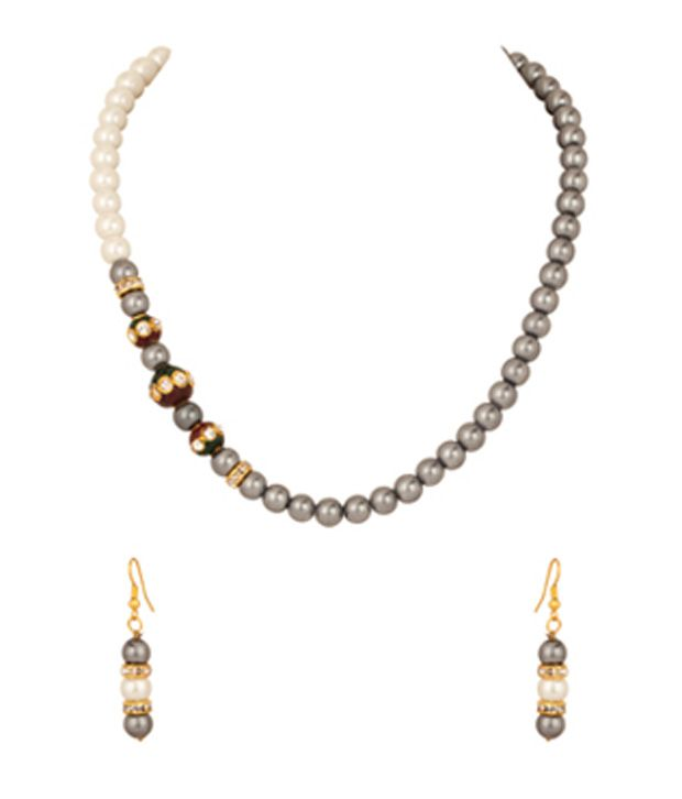 Voylla Pearl Necklace Set with Cz Studded Round Dholki Trio; Grey Beads