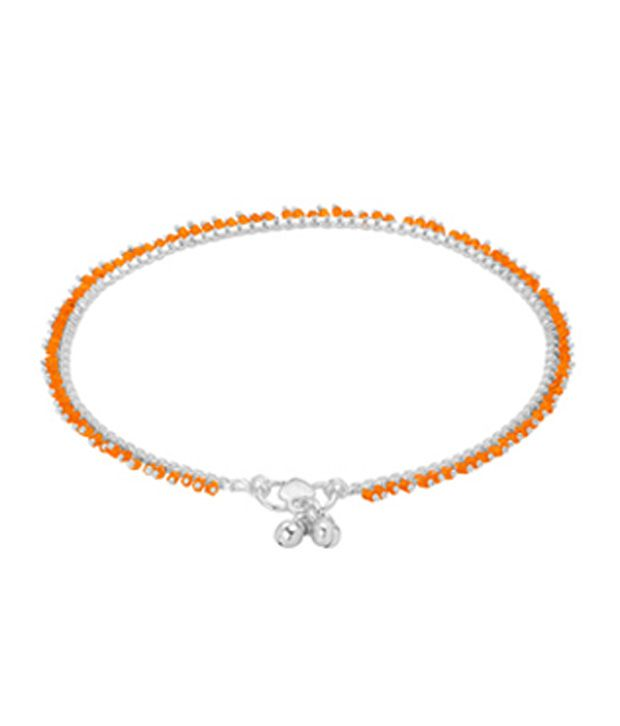 Voylla Pretty Orange Beads;Silver Plated Anklets