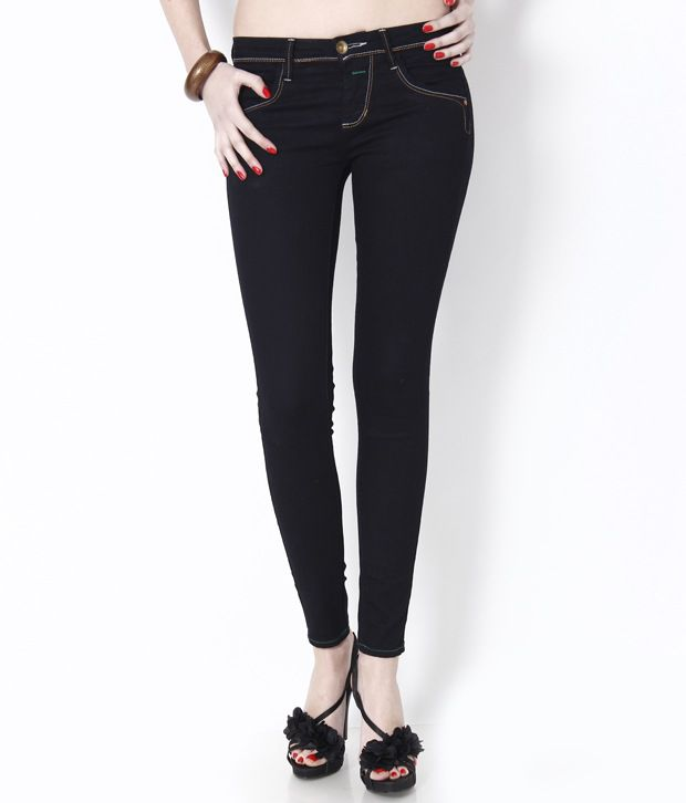Buy CODE 61 Black Stretchable Ankle Length Jeans Online at Best ...