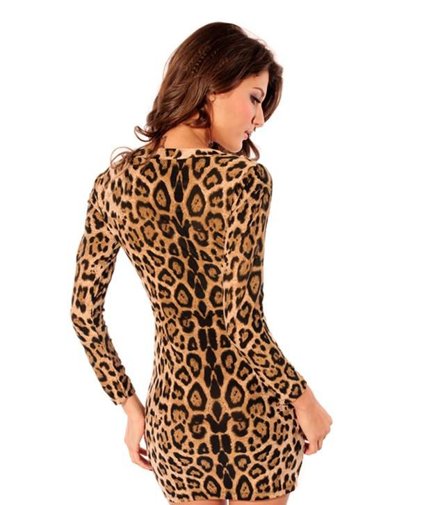 b85d5c7a13 Yogalz Brown Leopard Print Dress - Buy Yogalz Brown Leopard Print ...