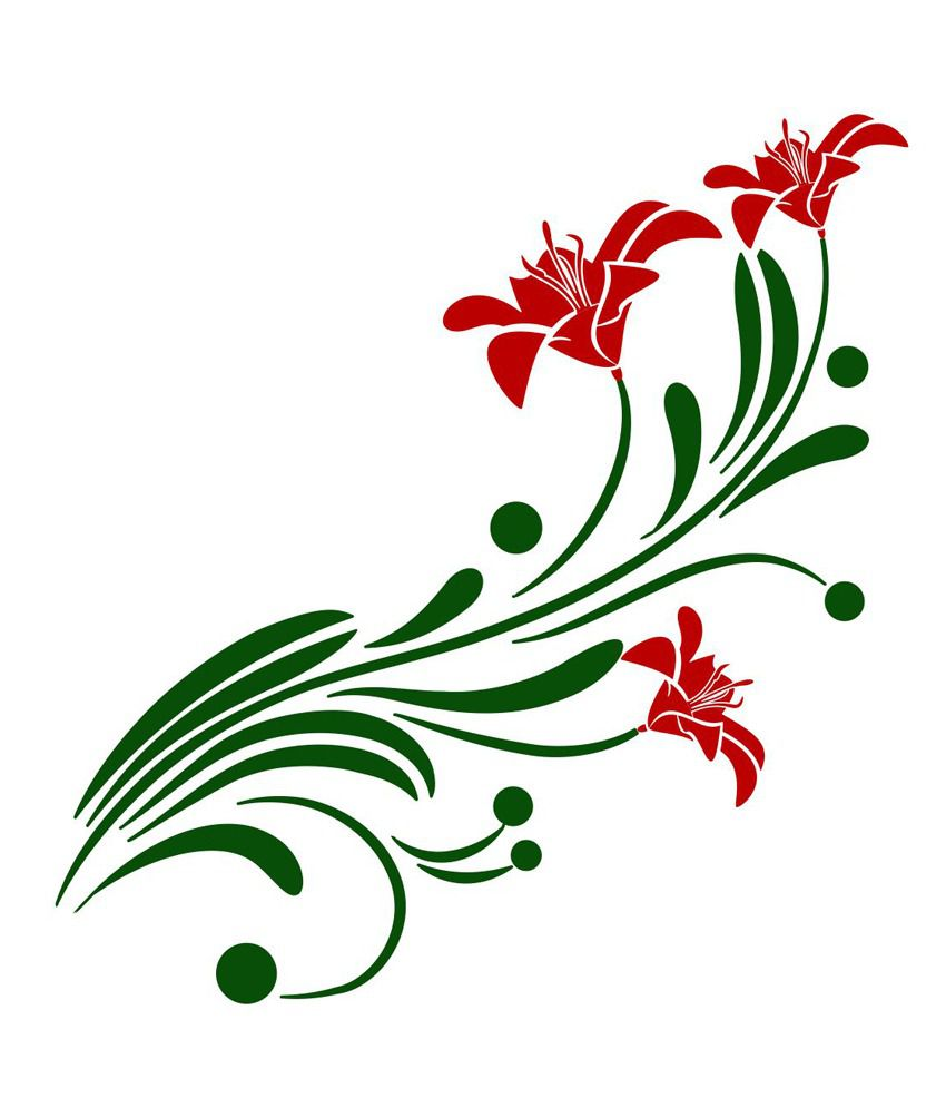 Chipakk Red Floral Branch Wall Decal Medium