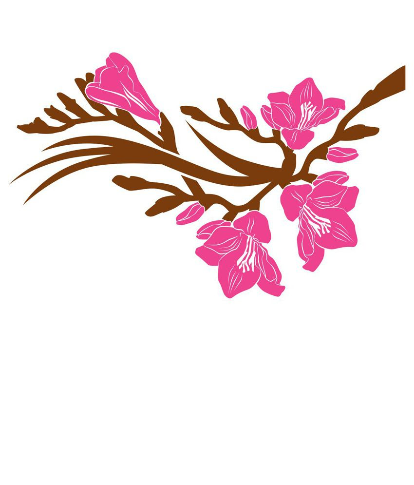 Chipakk Pink Floral Branch Wall Decal Medium