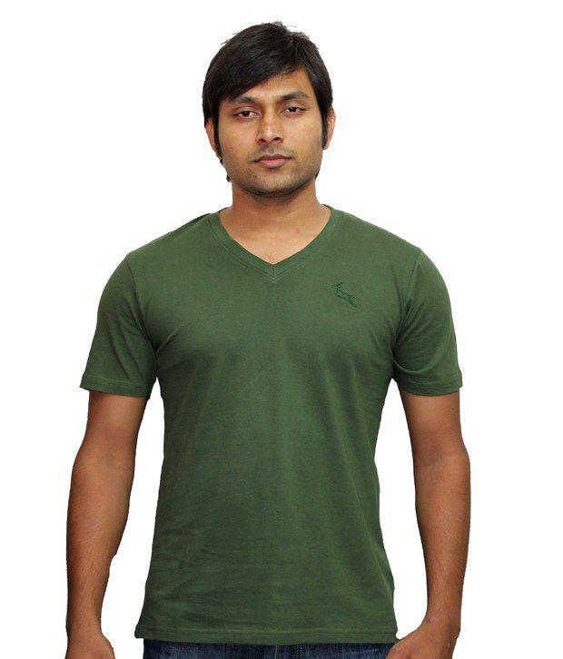 LanosUC Heavy Green V-neck Cotton Casual T-shirt