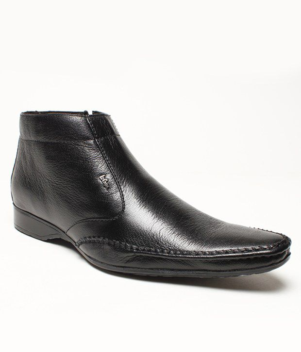 Lee Cooper Black Leather Ankle Length Boots