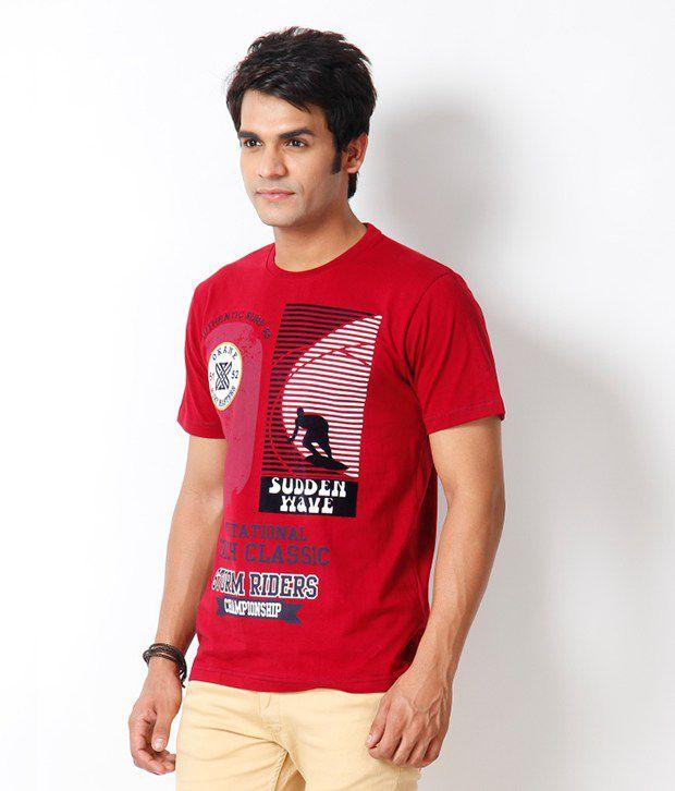 Okane Red Printed T Shirt