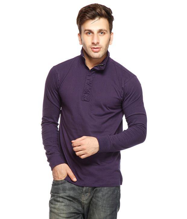 Gritstones Purple Ruffled Placket T Shirt