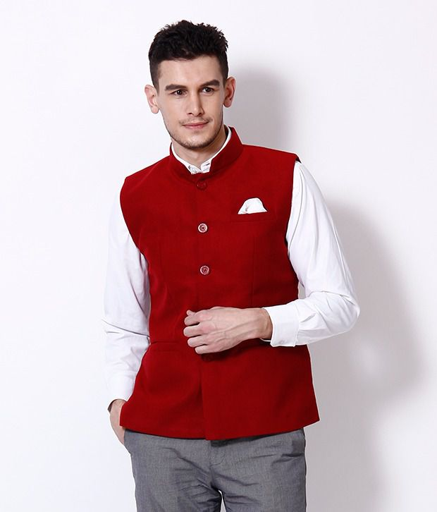 Exult Red Nehru Jacket - Buy Exult Red Nehru Jacket Online at Low