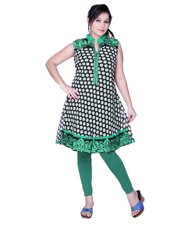 ishin Green Printed Cotton Kurti