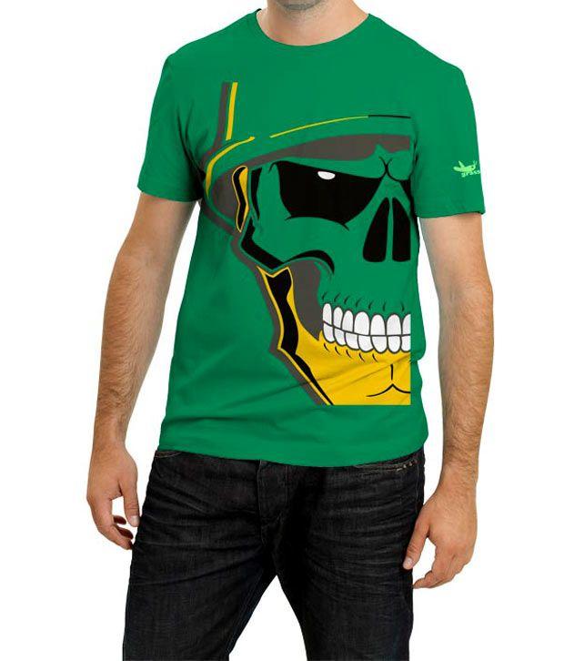 Grasshopr Skeleton Design T-Shirt- Green