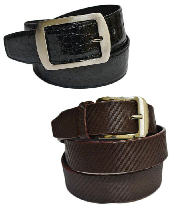 Skyways Single Black & Brown Men's Belt Combo