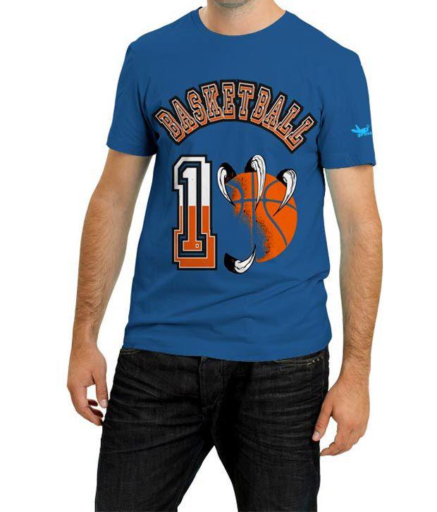 Grasshopr Basketball Design T-Shirt- Blue