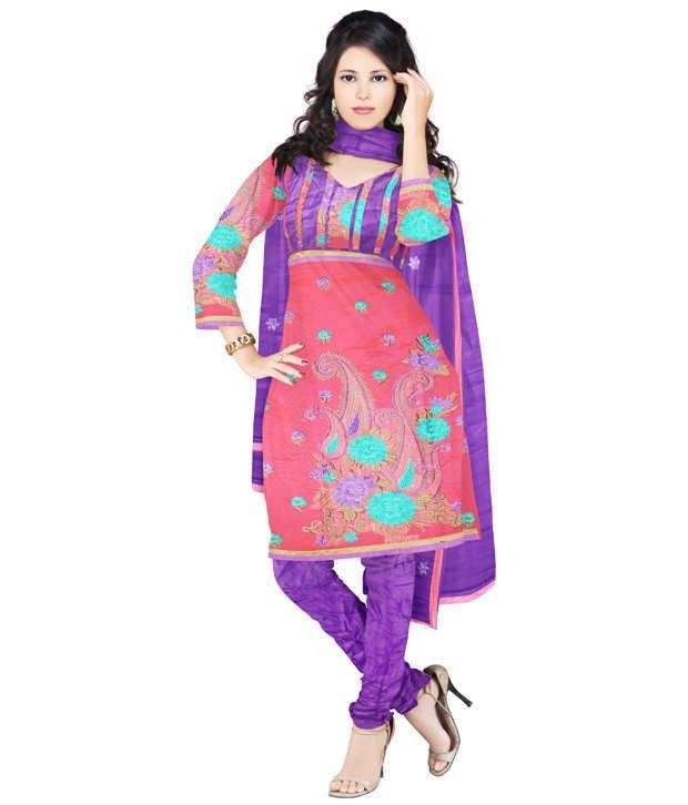 Unnati Silks Pink Chanderi Cotton Dress Material