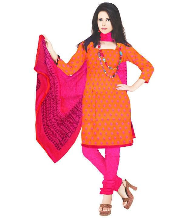 Unnati Silks Orange Unstitched Chanderi Silk Dress Material