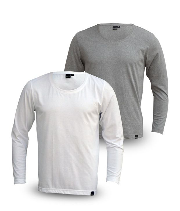 Rigo Pack Of Smart White-Grey Full Sleeve T Shirts
