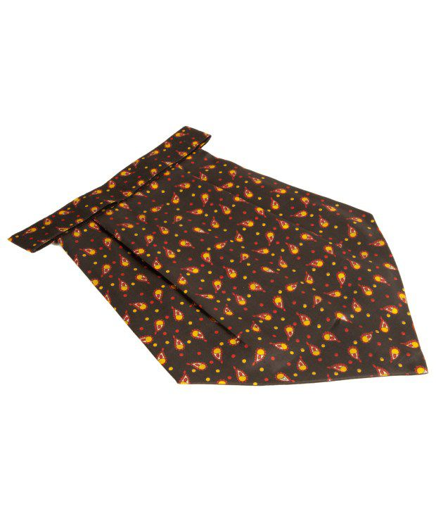 The Vatican Paisley Print Cravat - Brown & Orange